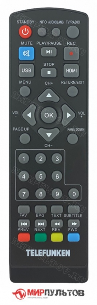 Пульт TELEFUNKEN TF-DVBT214, TF-DVBT213, TF-DVBT212